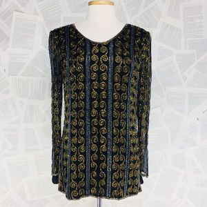 Papell Boutique Tops - Papell Evening silk beaded Blouse tunic top sequin